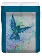 Blue Hummingbird In Flight Duvet Cover