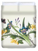 Blue Iris And Insects Duvet Cover