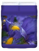Blue Iris Close Up Duvet Cover