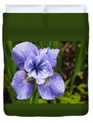 Blue Iris Flower Raindrops Garden Virginia Duvet Cover