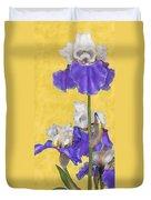 Blue Iris On Gold Duvet Cover