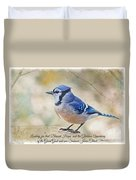 Blue Jay With Verse Duvet Cover