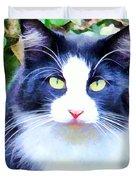Blue Kitty Duvet Cover