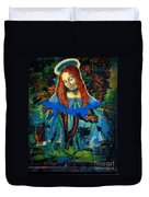 Blue Madonna In Tree Duvet Cover