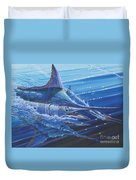 Blue Marlin Strike Off0053 Duvet Cover by Carey Chen