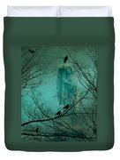 Angel And Crows In A Blue Mist Duvet Cover
