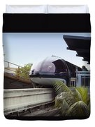 Blue Monorail In The Station Disneyland 01 Duvet Cover