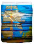 Blue Moonlight With Seagull And Sails Duvet Cover