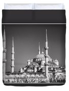 Blue Mosque Black And White Duvet Cover