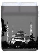 Blue Mosque In Black And White Duvet Cover