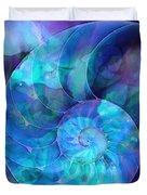 Blue Nautilus Shell By Sharon Cummings Duvet Cover