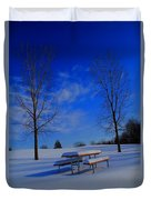 Blue On A Snowy Day Duvet Cover