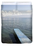 Blue Pier At Lake Ohrid Duvet Cover