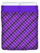 Blue Pink And Black Diagnal Plaid Cloth Background Duvet Cover