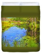 Blue Pond And Water Lilies Duvet Cover