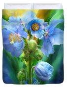 Blue Poppy Bouquet - Square Duvet Cover