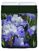 Blue Purple Irises Flowers Art Prints Duvet Cover