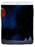 Blue Pyramids With Orange Moon Duvet Cover