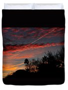 Blue Red And Gold Sunset With Streak Duvet Cover