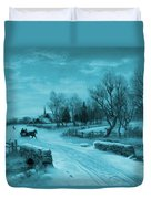 Blue Retro Vintage Rural Winter Scene Duvet Cover