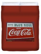 Blue Ridge Coca Cola Sign Duvet Cover