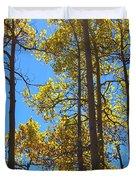 Blue Skies And Golden Aspen Trees Duvet Cover