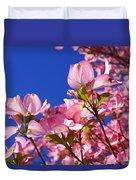 Blue Sky Art Prints Pink Dogwood Flowers Duvet Cover