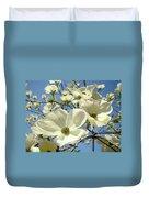 Blue Sky Spring White Dogwood Flowers Art Prints Duvet Cover