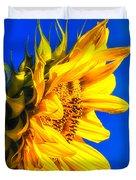 Blue Sky Sunshine Sunflower Duvet Cover