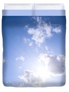 Blue Sky With Sun And Clouds Duvet Cover