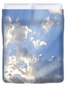 Blue Sky With Sun Rays Duvet Cover