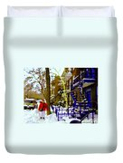 Blue Snowy Staircase And Birch Tree Montreal Winter City Scene Quebec Artist Carole Spandau Duvet Cover