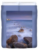 Blue Sunset At The Rocks Duvet Cover