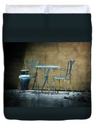 Blue Table And Chairs Duvet Cover