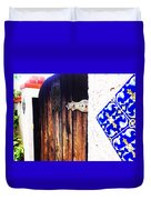Blue Tile Brown Door 1 Duvet Cover