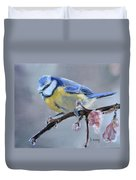 Blue Tit And Blossoms Duvet Cover