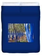 Blue Trees In Nature Duvet Cover