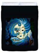 Blue Venetian Mask Duvet Cover