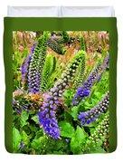Blue Veronica Flowers   Digital Paint Duvet Cover