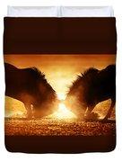 Blue Wildebeest Dual In Dust Duvet Cover
