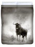 Blue Wildebeest In Rainstorm Duvet Cover by Johan Swanepoel