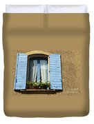 Blue Window And Shutters Duvet Cover