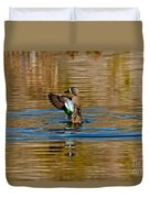 Blue-winged Teal Flapping Duvet Cover