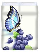 Blueberries And Butterfly Duvet Cover