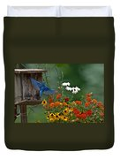 Bluebird And Colorful Flowers Duvet Cover