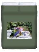 Bluebird And Tea Cups Duvet Cover