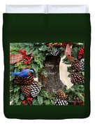 Bluebird Christmas Wreath Duvet Cover