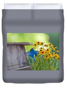 Bluebird Flying Thru Black Eyed Susans Duvet Cover