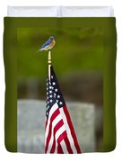 Bluebird Perched On American Flag Duvet Cover by John Vose