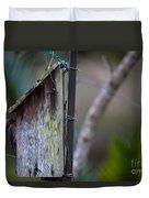Bluebird With Nest Material In Beak Duvet Cover